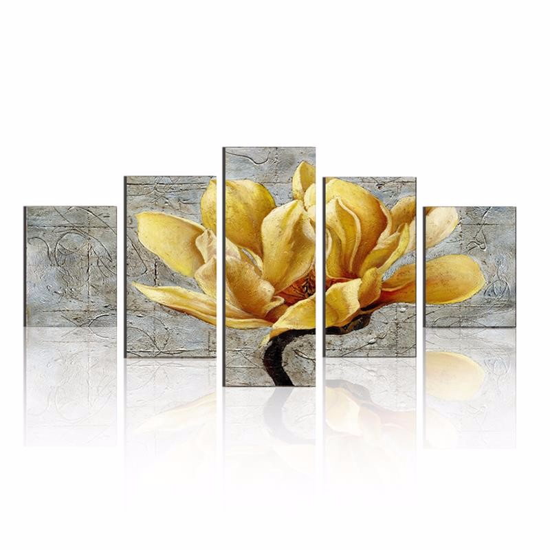Framed 5 Piece Canvas Art Yellow Flower Cuadros Decoracion Paintings on Canvas Wall Art for Home Decorations Wall Decor Artwork in Painting Calligraphy from Home Garden
