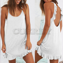 Summer Strappy Short Mini Dress Backless Sleeveless Loose Casual Beach Women Lady Evening Party CUERLY de festa