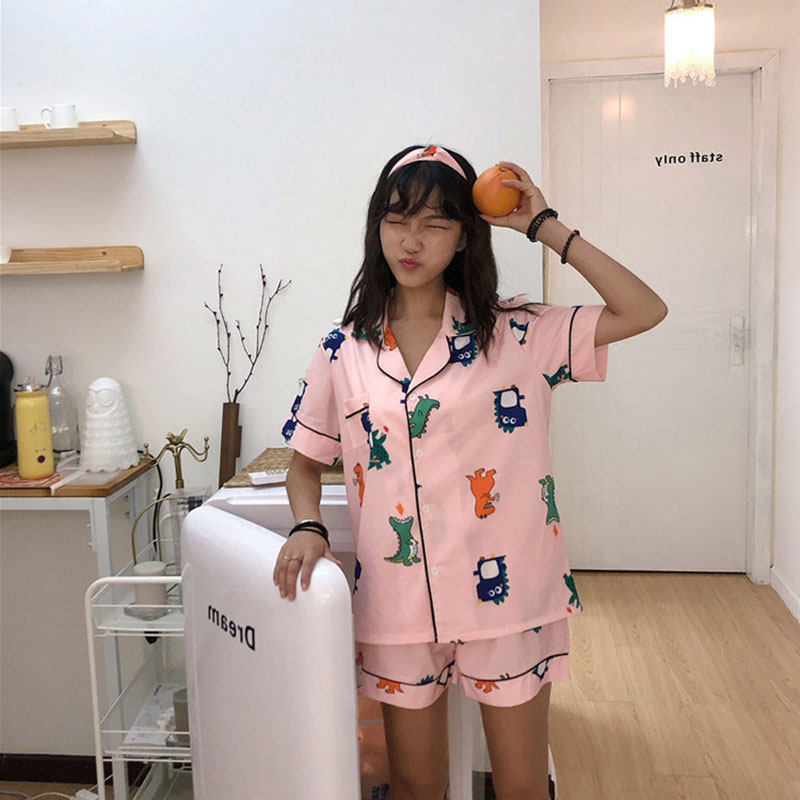 2019 Summer Korean-style New Style Cute Cartoon Printed Students Pajamas Suit Tracksuit Send Headband-outerwear
