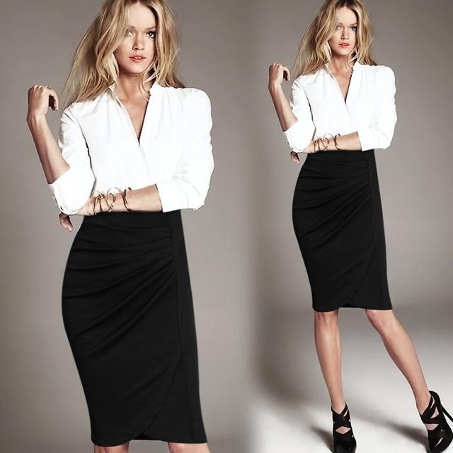 Alta Cintura de La Falda 2017 Del Otoño Del Verano Nueva Moda XXL Negro Lápiz Faldas Mujeres Rodilla-Longitud de Las Señoras Ropa de Trabajo de Oficina