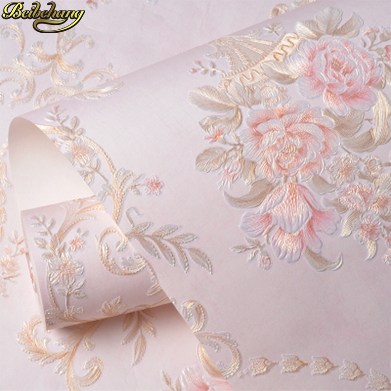 Beibehang 53X300cm Embossed Flowers Non-woven Self Adhesive Wallpapers For Living Room Decoration Pink 3D Wall Papers Home Decor