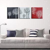 2017 3 stks/set Zwart Wit Rood Boom Moderne Abstracte handgeschilderde Olieverfschilderijen op Canvas Thuis Wall Art Decor geen Frame