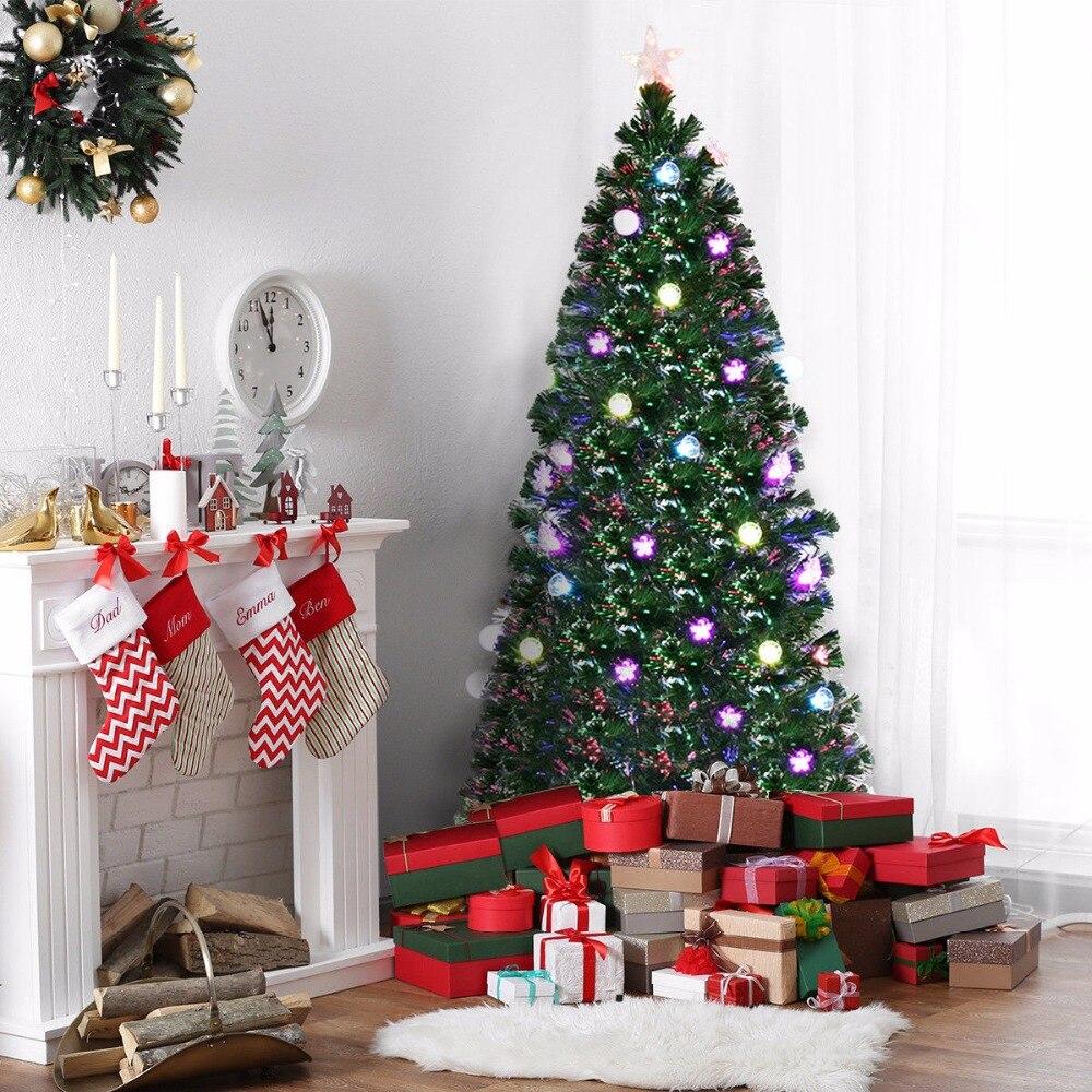 7 5 Fiber Optic Christmas Tree: Goplus 7.5Ft Pre Lit Fiber Optic Artificial Christmas Tree