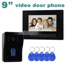 DIYSECUR 9 Inch Compatible CCTV Video Door Phone Intercom Doorbell Home Security Touch Camera Monitor 125KHz RFID Keyfobs