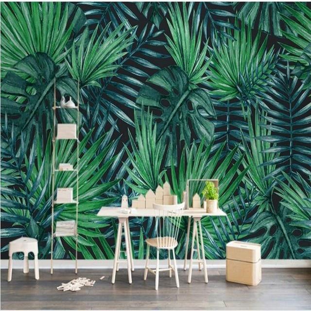 beibehang Custom large fresco Nordic simple tropical plant
