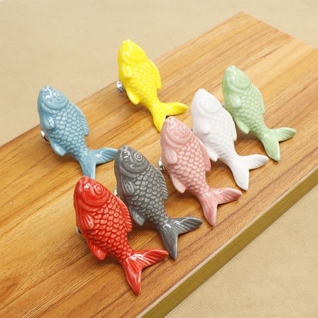 10pcs Ceramic Fish Shaped Colorful Metal Door Handles Cupboard ...