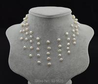 Hermosa Real perlas de agua dulce gracia collar multipuntos blanco rosa violeta Multicolor de novia de la cadena collar de los colgantes de la joyería