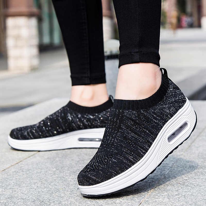 Feminino deslizamento em chunky altura aumentar tênis de corrida das mulheres senhoras esporte ao ar livre respirável meias jogging formadores
