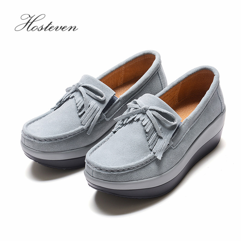 Hosteven Womens Shoes Flat Moccasins Cow Suede Leather Shoes Spring Autumn Womens Loafers Female Woman Fringe Shoe ...