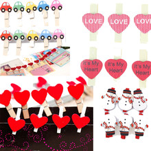 Mini Heart Love/Santa Claus/Car Wooden Clothes Photo Paper Peg Pin Clothespin Craft Postcard Clips Home wedding Christmas Dec(China)