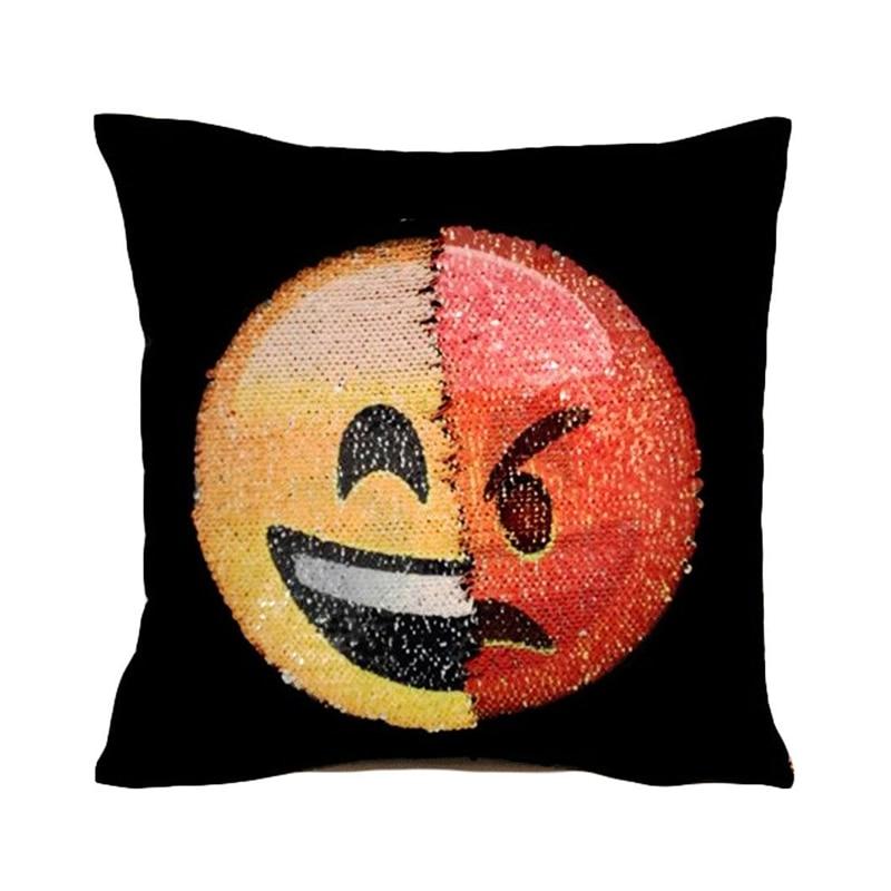 taie oreiller smiley Mignon DIY visage changeant emoji décoratif oreillers couverture  taie oreiller smiley