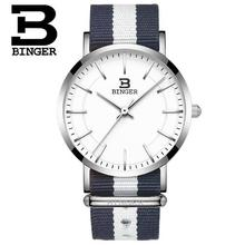 Switzerland BINGER Thin Watch Fashion Casual Watch Wristwatch Nylon Strap Quartz Sport Wrist Watches Waterproof Clock