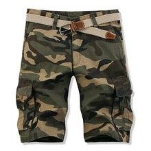 Cotton Mens Cargo Shorts Summer Fashion Camouflage Male Shorts Multi-pocket Military Casual Khaki Camo Outdoors Men Short Pants multi pocket camo drawstring hem cargo shorts