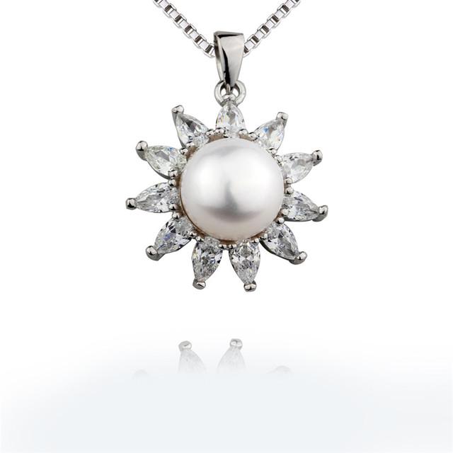 Snh mais novo 100% 925 colar de prata pingente 10mm aaa natural branco gota de pérola mãe pingente jóias frete grátis