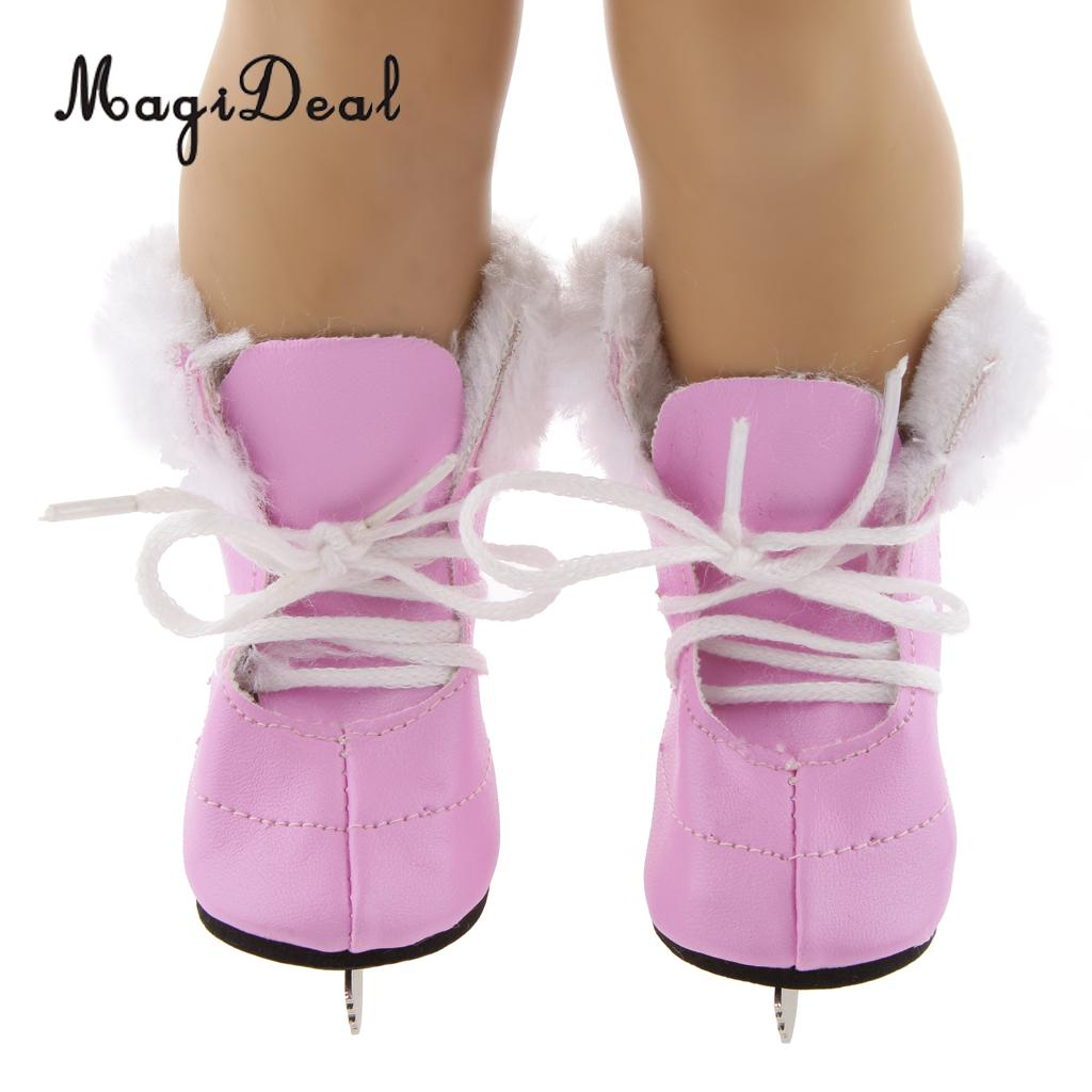 MagiDeal Fashion 1 Pair Pink Skates Foam Shoes With Lace Up Shoelace For   18 Inch Dolls Kids Skating Perform Toys