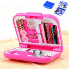 DIY Sewing Supplies Organizer Travel Sewing Kit Thread Needles Mini Case Plastic Scissors Tape Pins Set Travel Sewing Kit(China)