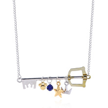 Game Kingdom Hearts Sora Key Keyblade Necklaces Pendants Crown Star Blue Crystal Choker For Women Men Cosplay Jewelry