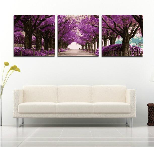 Peinture encadrée par nombre peint à la main bricolage peinture à l'huile numérique pour la décoration de la maison combinaison à trois images 5050 fleurs violettes