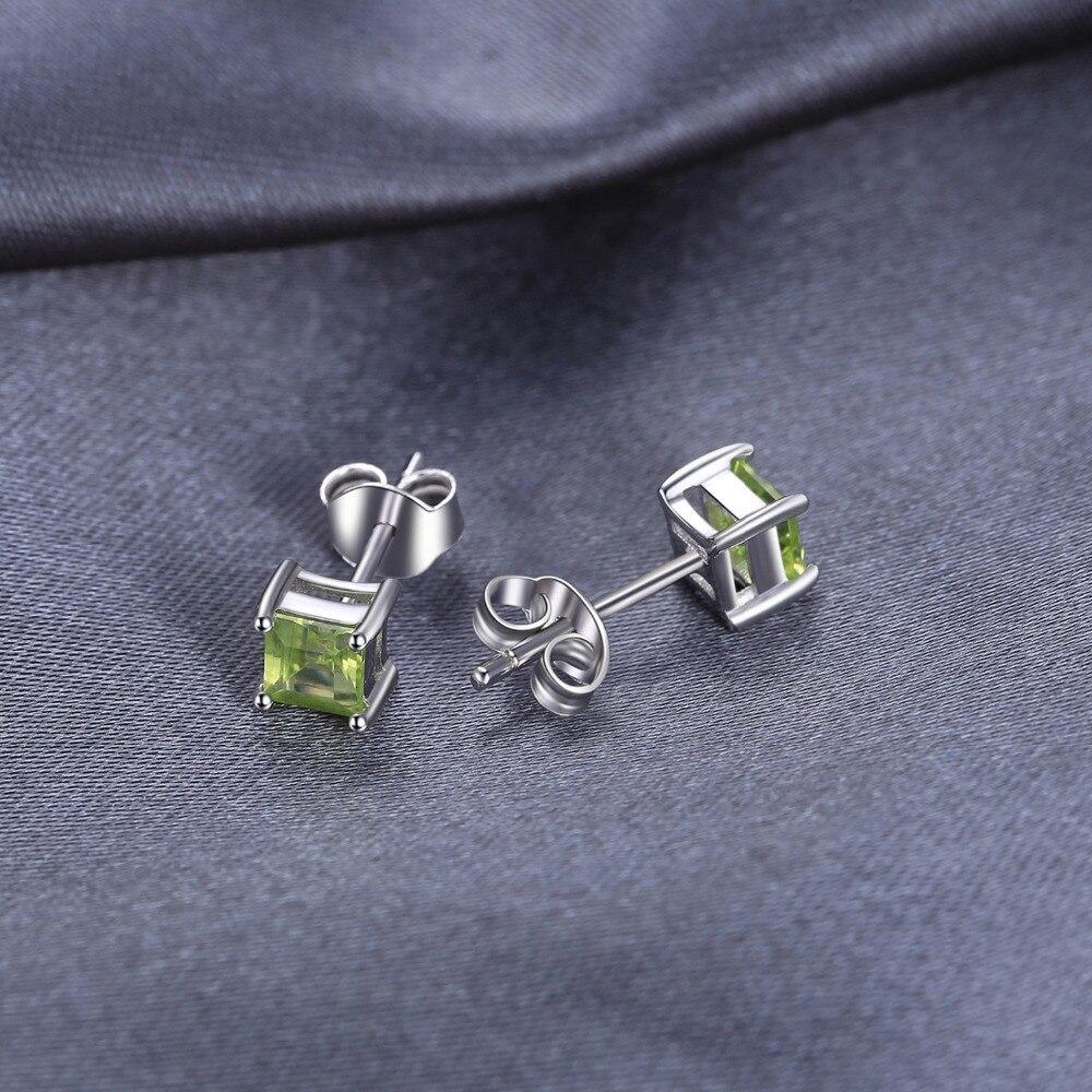 JewelryPalace Genuine Peridot Stud Earrings 925 Sterling Silver Earrings For Women Gemstones Korean Earings Fashion Jewelry 2019