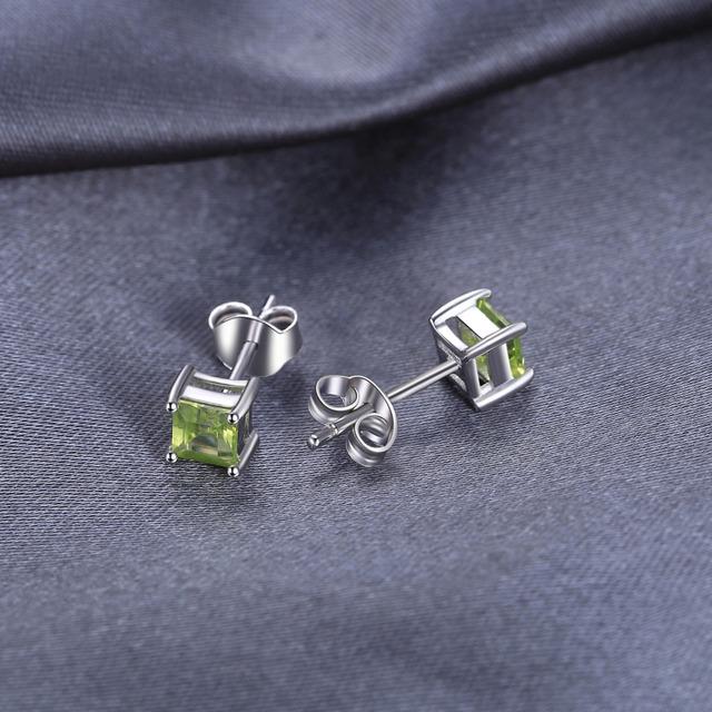 Square Natural Peridot Stud Earrings