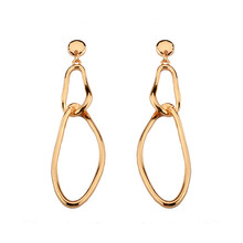Independent design geometric ornaments fashion earrings Personality asymmetric studs environmental alloy