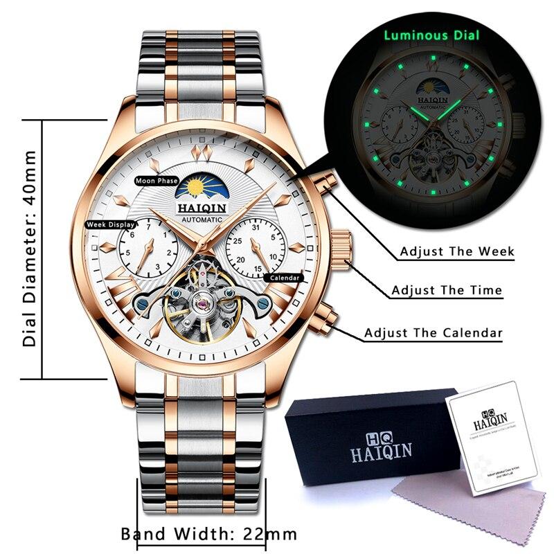 HAIQIN ผู้ชายนาฬิกาอัตโนมัติปฏิทินธุรกิจนาฬิกาข้อมือสแตนเลสกันน้ำกีฬานาฬิกาผู้ชาย reloj hombre-ใน นาฬิกาข้อมือกลไก จาก นาฬิกาข้อมือ บน   3