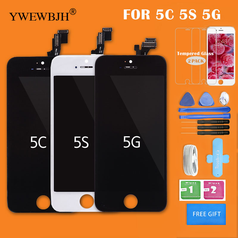 YWEWBJH AAA LCD Screen For iPhone 5 5S 6G 6Plus LCD For Display Assembly With Digitizer Glass No Dead Repair Part Black White