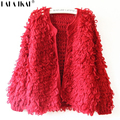 Mujeres Lana Mezclas SWD0074 Peludo Cardigan Suéteres de Punto Abierto Stitch Crochet Prendas de Punto prendas de Vestir Exteriores-5