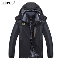 TIEPUS New Large Size 7XL 8XL 9XL Hooded Jacket Men S Winter Plus Velvet Warm Waterproof