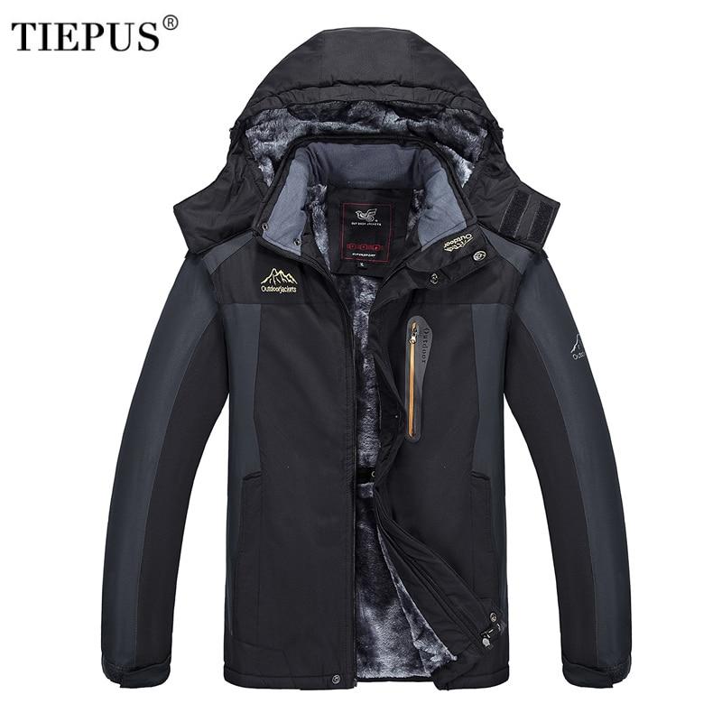 TIEPUS nueva plus Tamaño XL ~ 6XL 7XL 8XL 9XL con capucha chaqueta con capucha de los hombres de invierno de terciopelo con capucha impermeable caliente chaqueta de hombre abrigo