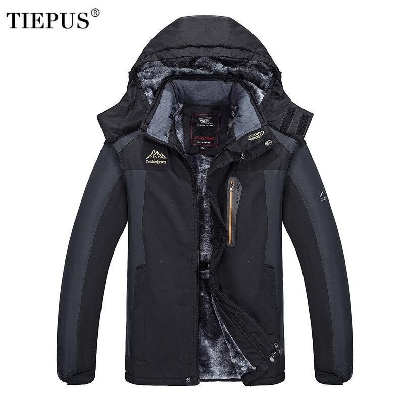 TIEPUS nuovo più il formato XL ~ 6XL 7XL 8XL 9XL giacca con cappuccio di inverno degli uomini Giacca A Vento, più caldo velluto impermeabile imbottiture giacca Cappotto maschile