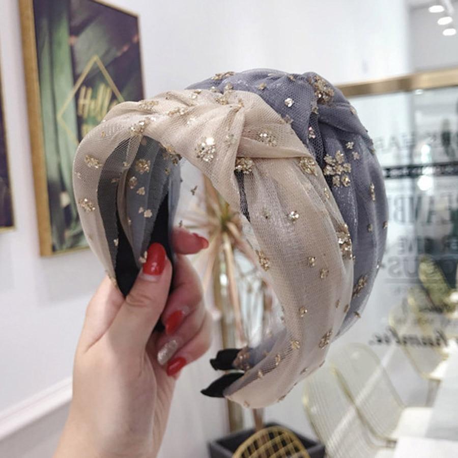 Haimeikang 2020 New Fashion Lace Crystal Flower Hairband Rhinestone Headband For Women Knot Hair Band Hair Accessories