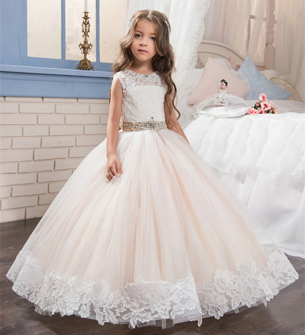 New Beige Ball Gown Flower Girls Dresses for Wedding Girls First Communion Dress Size 2-14Y Customized GownNew Beige Ball Gown Flower Girls Dresses for Wedding Girls First Communion Dress Size 2-14Y Customized Gown