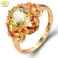 Hutang 3.95ct natural lemon cuarzo y citrino esterlina del sólido 925 de plata del anillo de la piedra preciosa joyería fina mejor regalo para las mujeres