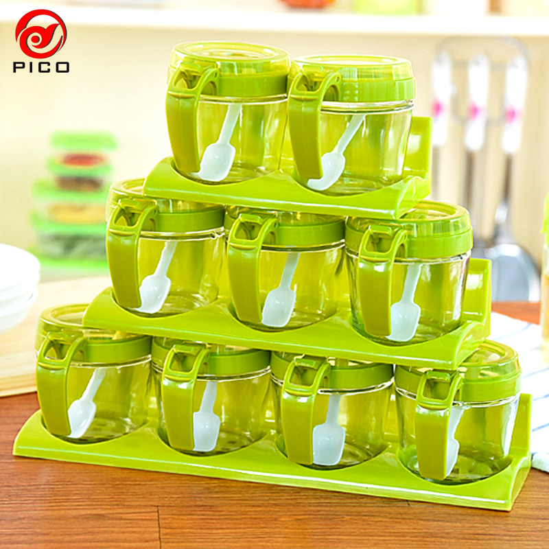 simple transparent spice jar kitchen condiment glass spice storage box flavor seasoning container cover kitchen tools - Spice Storage