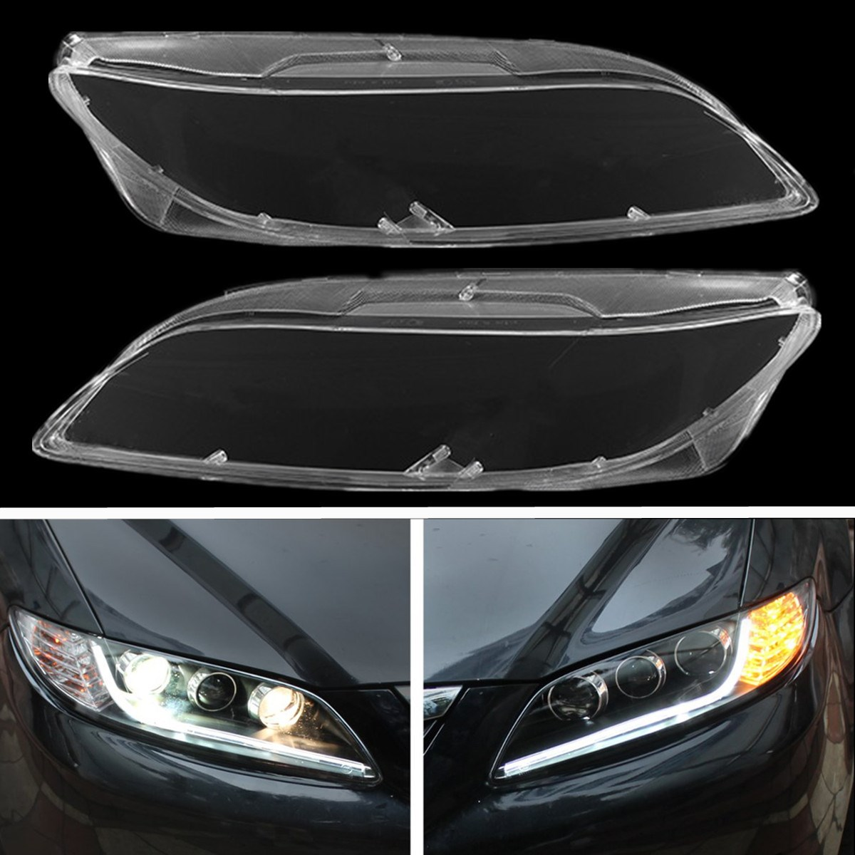 1 Pair Clear Car Lens Lamp Cover Headlight Lampshade Bright For Mazda 6 2003 2008