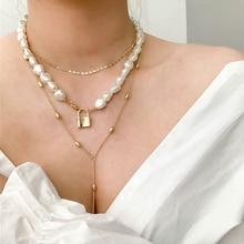 HUANZHI, хип-хоп многослойная цепочка с имитацией неправильного жемчуга, металлические бусины, линия, цепочка с замком, ожерелье для женщин, ювелирные изделия