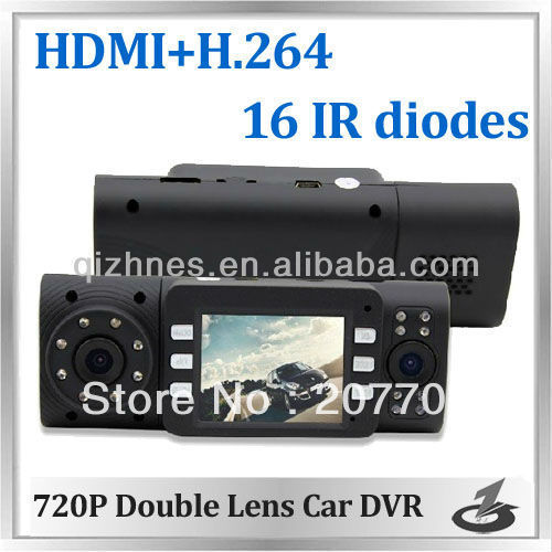 Free shipping 2.0 inch 720P Double Lens Car Camcorder dual lens Black Box for car DVR recorder