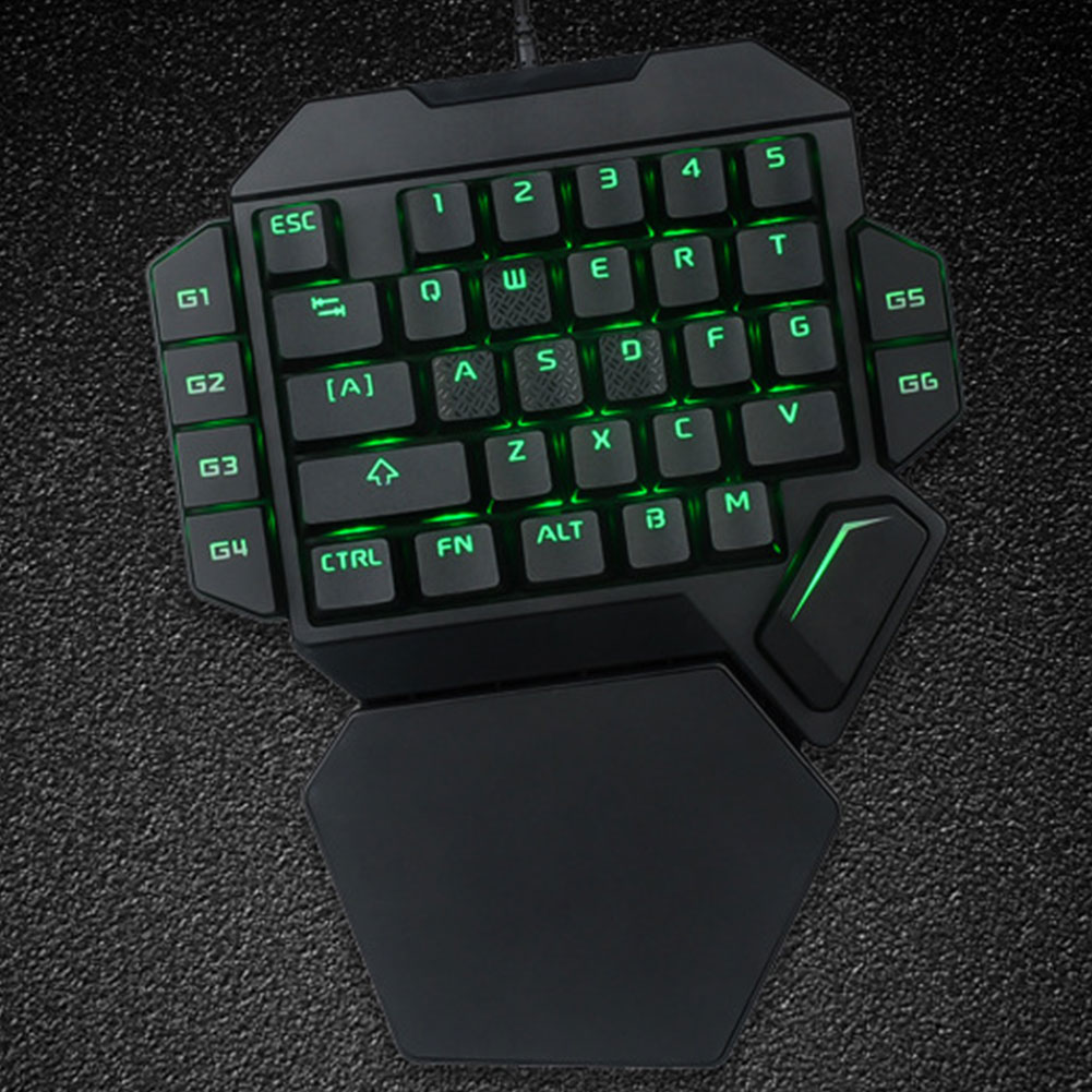 K50 Wired 35 Keys Ergonomic Mini RGB Backlight Gaming Keyboard Universal One-handed Office USB Mechanical Desktop Eating Chicken