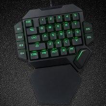 K50 Проводная эргономичная игровая мини клавиатура с подсветкой RGB с 35 клавишами, универсальная офисная Механическая настольная USB клавиатура с одной рукой для еды курицы