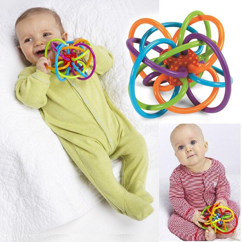 0-12 месяцев Детские игрушки мяч погремушки развивать ребенка интеллект Игрушки для маленьких детей Пластик колокольчик погремушки wj266