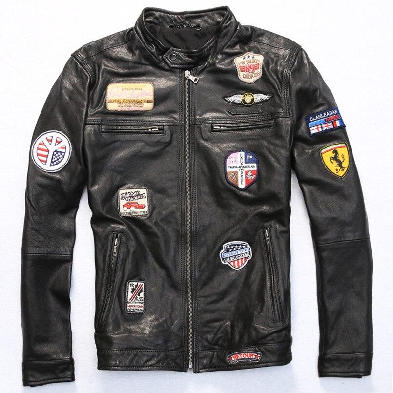2017 New Male Leather Jacket Motorcycle Jacket Genuine Sheepskin Casual Stand Collar Slim Fit Biker Jackets