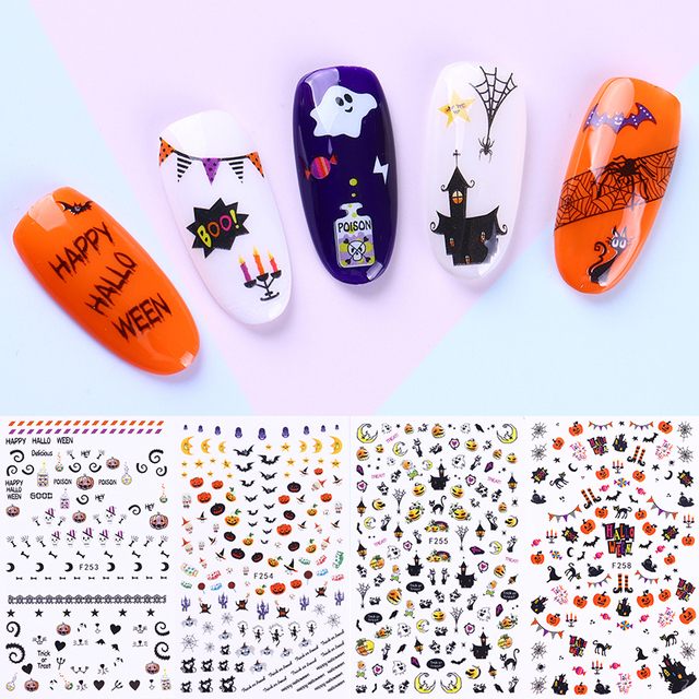1 Sheet Halloween Owl Skull Pumpkin Ghost 3D Stencil Nail Sticker ...