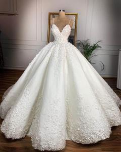 Image 1 - Robe de mariée Vintage en dentelle à motifs floraux, col en v, robe de mariée romantique, grande taille, à lacets