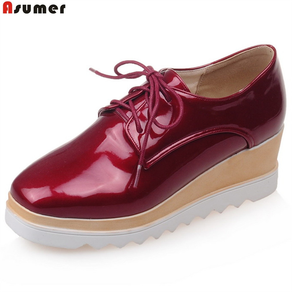 ASUMER 2018 fashion spring autumn new women pumps square toe ladies wedges shoes lace up casual high heels shoes asumer 2018 fashion apring autumn new