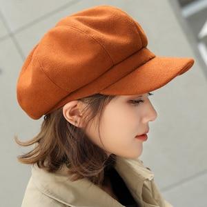 Image 5 - HT1990 Auutmn Winter Hats for Women Solid Plain Octagonal Newsboy Cap Men Ladies Casual Wool Hat Winter Beret Women Painter Cap