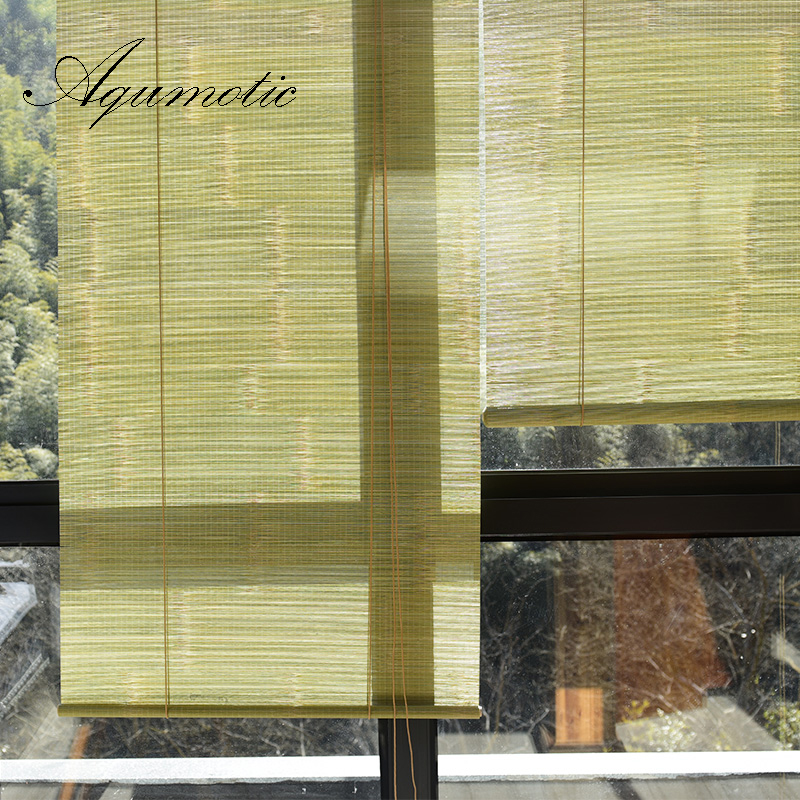 Aqumotic Vintage Bamboo Curtain Rural Room Partition Shade Balcony Commission Curtains Decoration Green Screen Tailormade