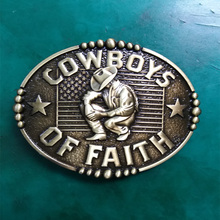1Pcs Bronze Cowboy Of Faith Western Belt Buckle For Men