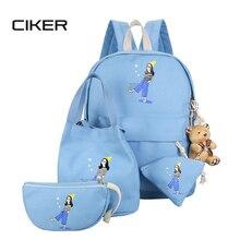 Ciker простой женская мода холст печати рюкзак для подростков школьный 4 шт./компл. сумка laotop рюкзаки mochila эсколар