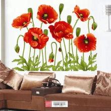 Цветы съемные настенные наклейки настенные Арт виниловый, с изображением цветка росписи дома номер Декор DIY